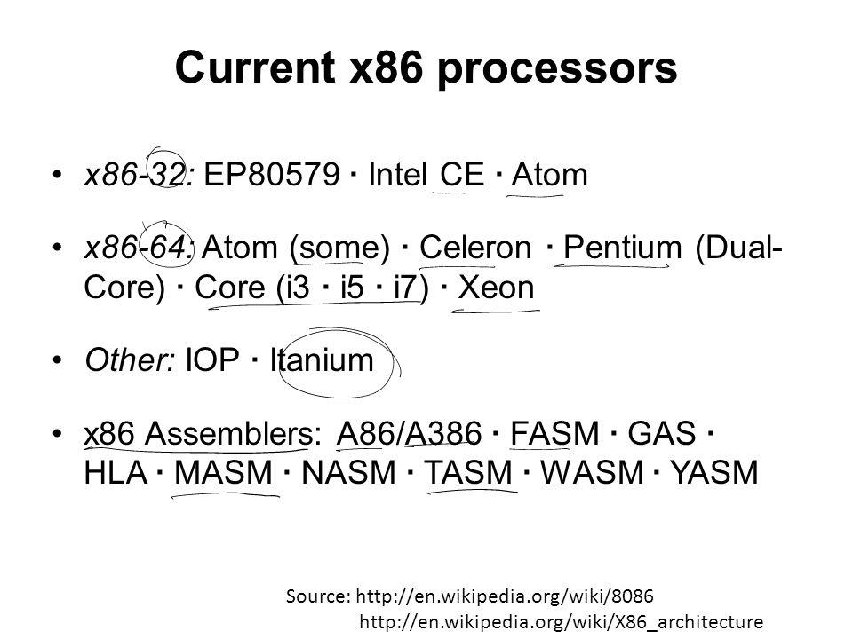 Current x86 processors x86-32: EP80579 · Intel CE · Atom x86-64: Atom (some) · Celeron · Pentium (Dual- Core) · Core (i3 · i5 · i7) · Xeon Other: IOP