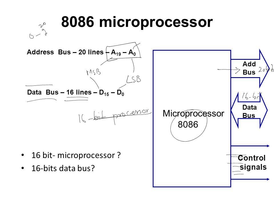 8086 microprocessor 16 bit- microprocessor ? 16-bits data bus? Microprocessor 8086 Data Bus Control signals Add Bus Address Bus – 20 lines – A 19 – A