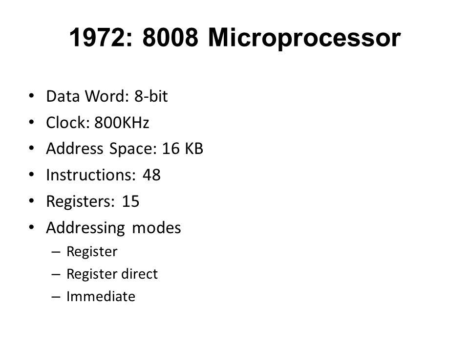 1972: 8008 Microprocessor Data Word: 8-bit Clock: 800KHz Address Space: 16 KB Instructions: 48 Registers: 15 Addressing modes – Register – Register di