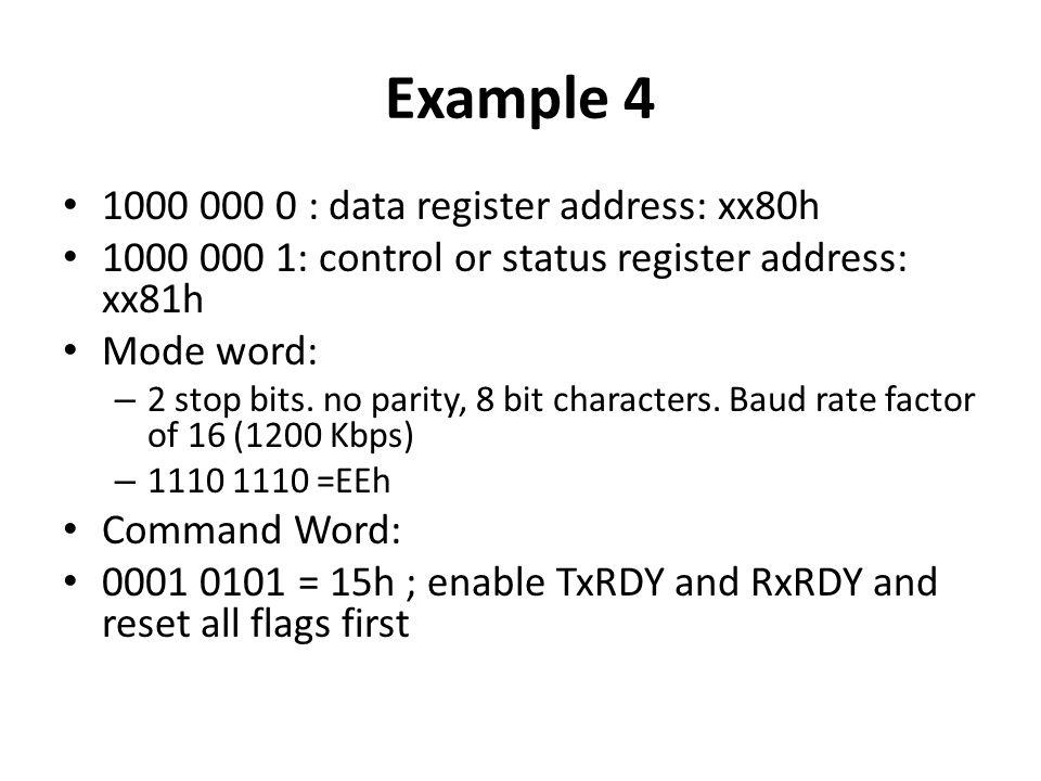 Example 4 1000 000 0 : data register address: xx80h 1000 000 1: control or status register address: xx81h Mode word: – 2 stop bits. no parity, 8 bit c