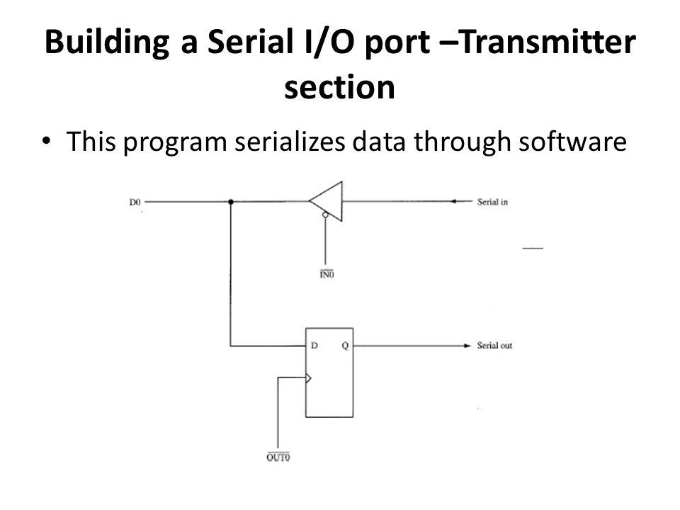 Building a Serial I/O port –Transmitter section This program serializes data through software