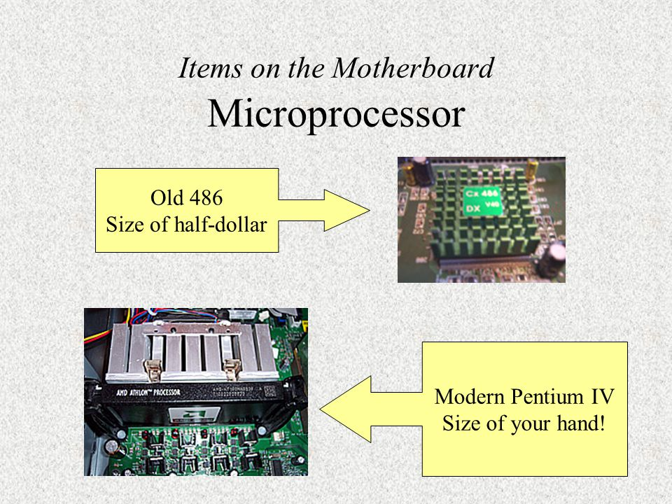 Items on the Motherboard Microprocessor Brain or engine of the PC.