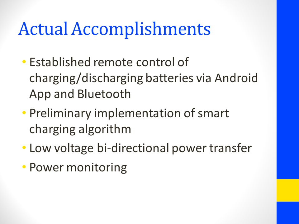 Actual Accomplishments Established remote control of charging/discharging batteries via Android App and Bluetooth Preliminary implementation of smart charging algorithm Low voltage bi-directional power transfer Power monitoring