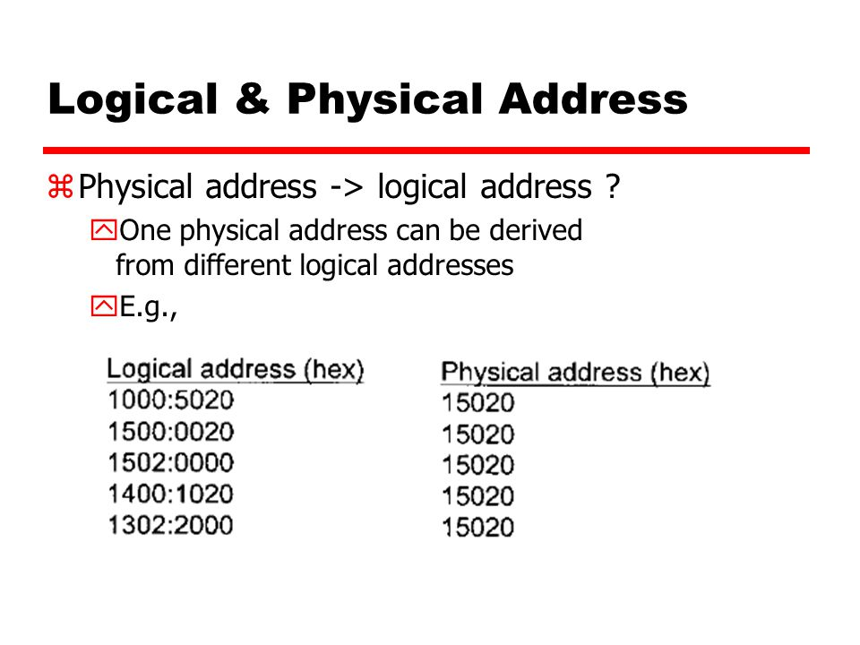 Logical & Physical Address zPhysical address -> logical address ? yOne physical address can be derived from different logical addresses yE.g.,