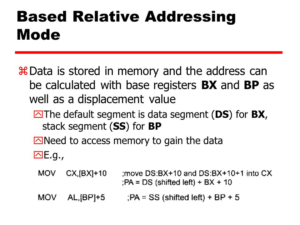 Based Relative Addressing Mode zData is stored in memory and the address can be calculated with base registers BX and BP as well as a displacement value yThe default segment is data segment (DS) for BX, stack segment (SS) for BP yNeed to access memory to gain the data yE.g.,