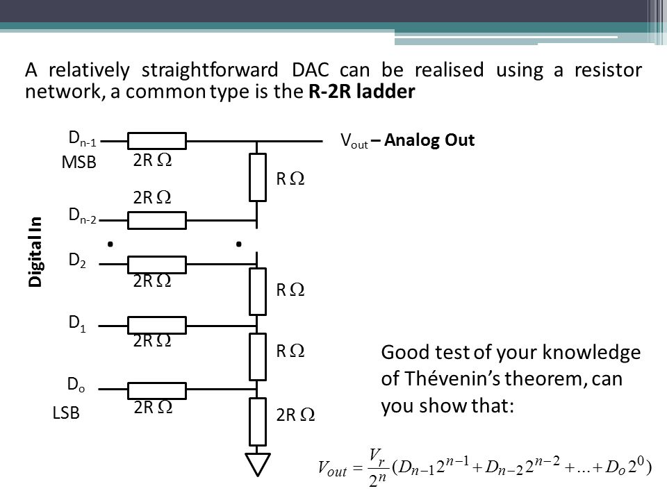 ArelativelystraightforwardDACcanberealisedusingaresistor network, a common type is the R-2R ladder Good test of your knowledge of Thévenin's theorem, can you show that: r (D n  1 2 n  1  D n  2 2 n  2 ...
