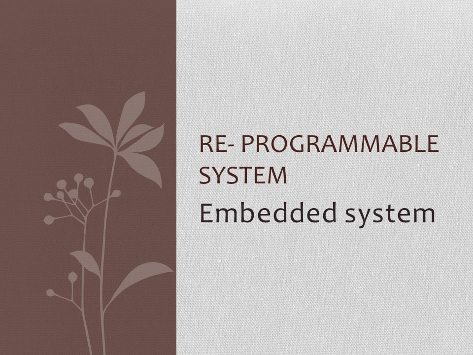 Embedded system RE- PROGRAMMABLE SYSTEM