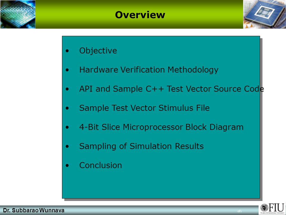 Dr. Subbarao Wunnava 2 Objective Hardware Verification Methodology API and Sample C++ Test Vector Source Code Sample Test Vector Stimulus File 4-Bit S