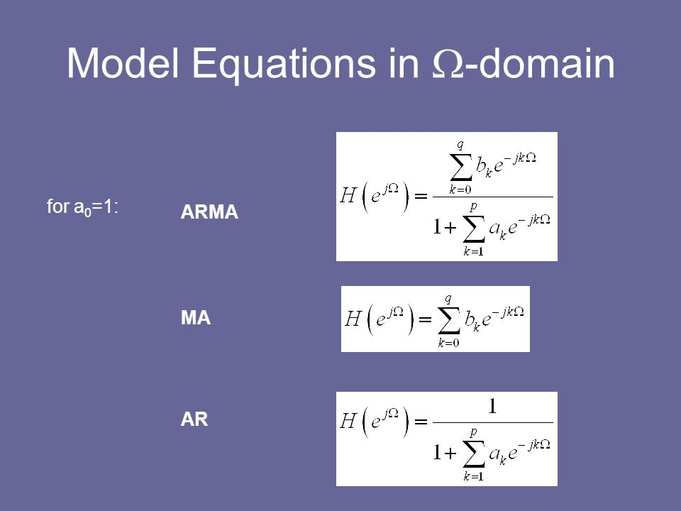 Model Equations in  -domain MA AR ARMA for a 0 =1: