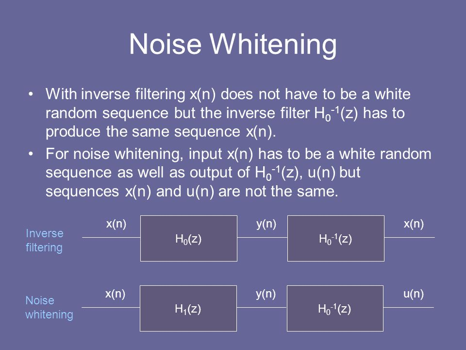 Noise Whitening With inverse filtering x(n) does not have to be a white random sequence but the inverse filter H 0 -1 (z) has to produce the same sequ