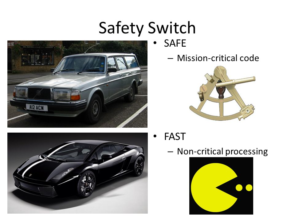 Safety Switch SAFE – Mission-critical code FAST – Non-critical processing