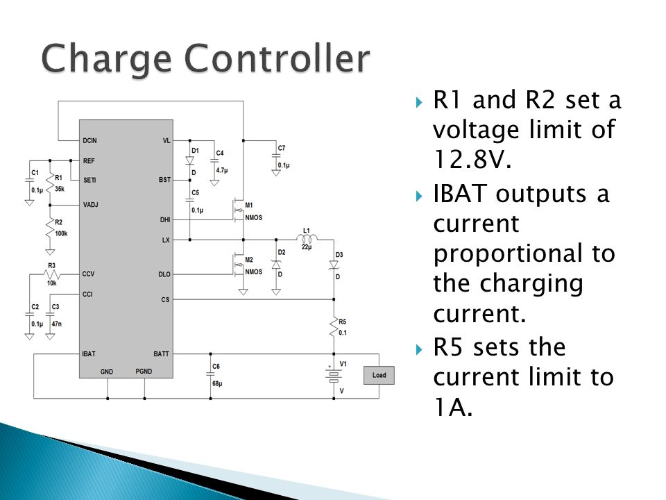  R1 and R2 set a voltage limit of 12.8V.  IBAT outputs a current proportional to the charging current.  R5 sets the current limit to 1A.