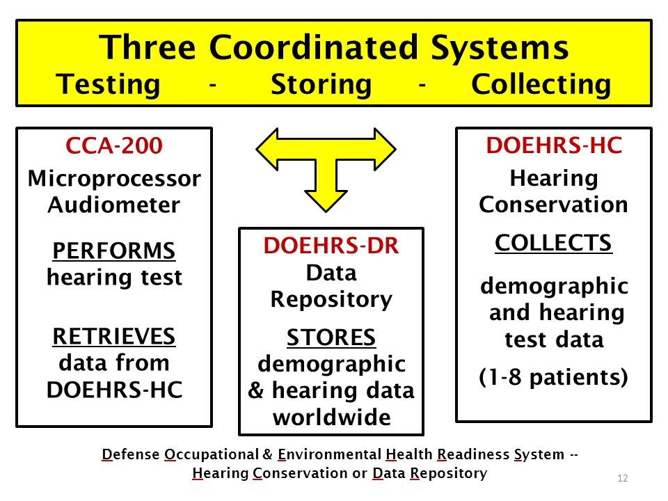 Three Coordinated Systems Testing - Storing - Collecting Defense Occupational & Environmental Health Readiness System -- Hearing Conservation or Data Repository DOEHRS-HC Hearing Conservation COLLECTS demographic and hearing test data (1-8 patients) DOEHRS-DR Data Repository STORES demographic & hearing data worldwide 12 CCA-200 Microprocessor Audiometer PERFORMS hearing test RETRIEVES data from DOEHRS-HC