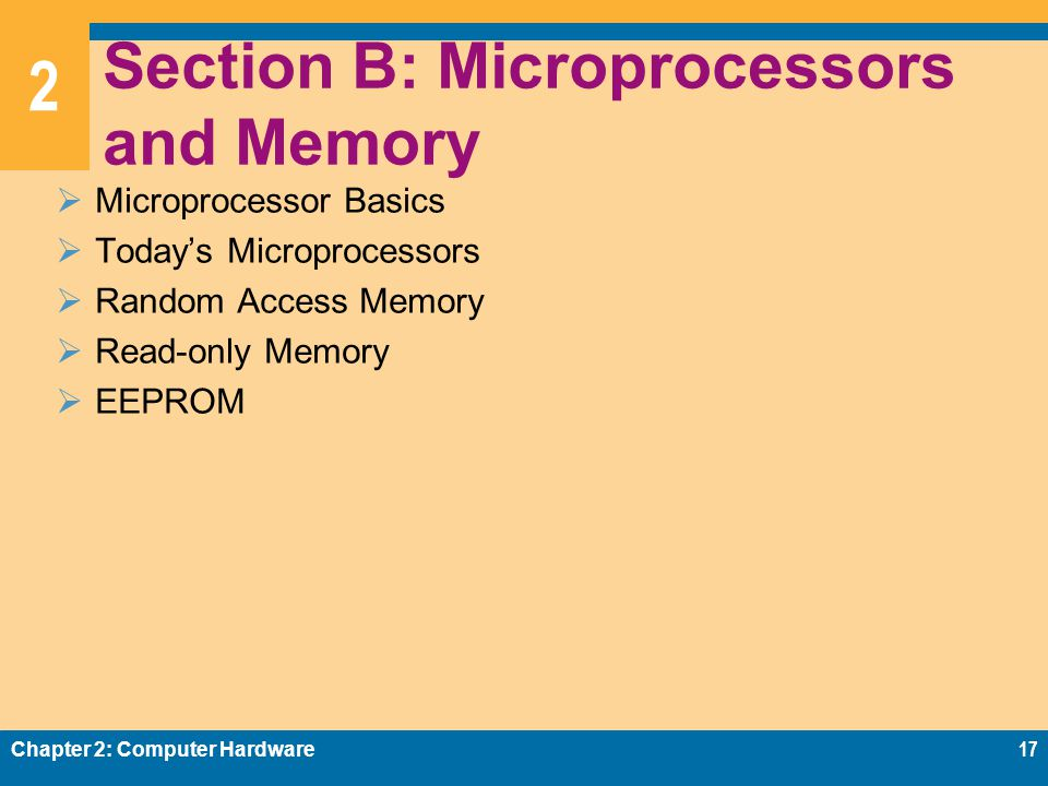 2 Section B: Microprocessors and Memory  Microprocessor Basics  Today's Microprocessors  Random Access Memory  Read-only Memory  EEPROM Chapter 2