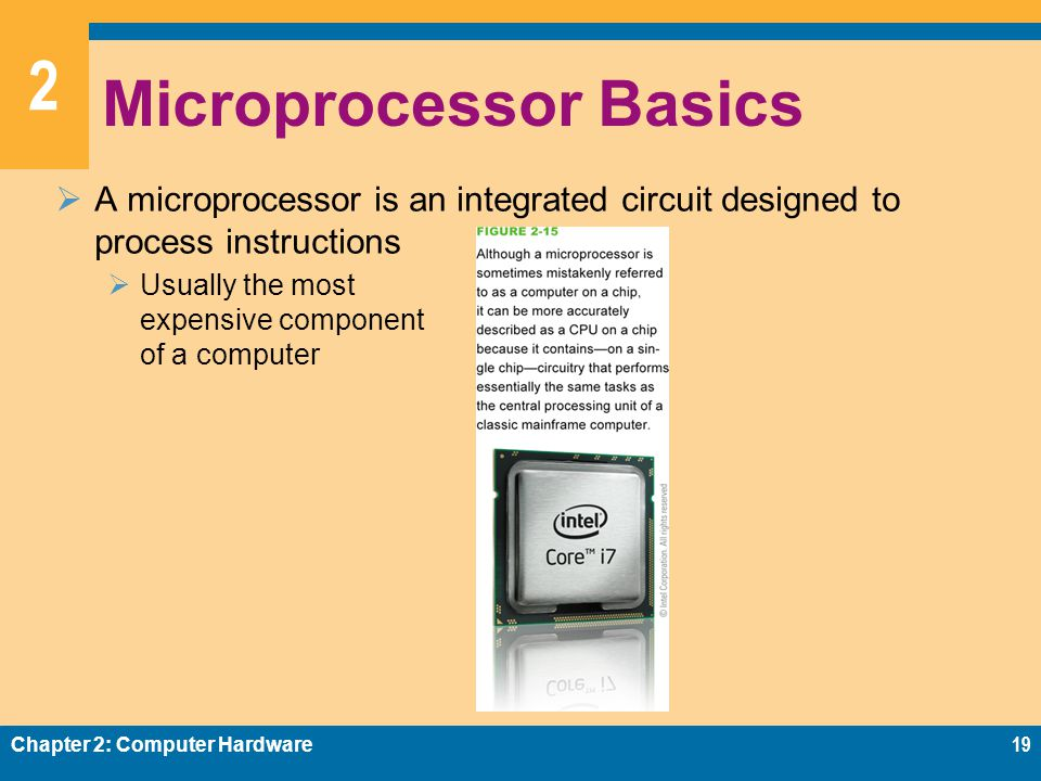 2 Microprocessor Basics  A microprocessor is an integrated circuit designed to process instructions  Usually the most expensive component of a computer Chapter 2: Computer Hardware19