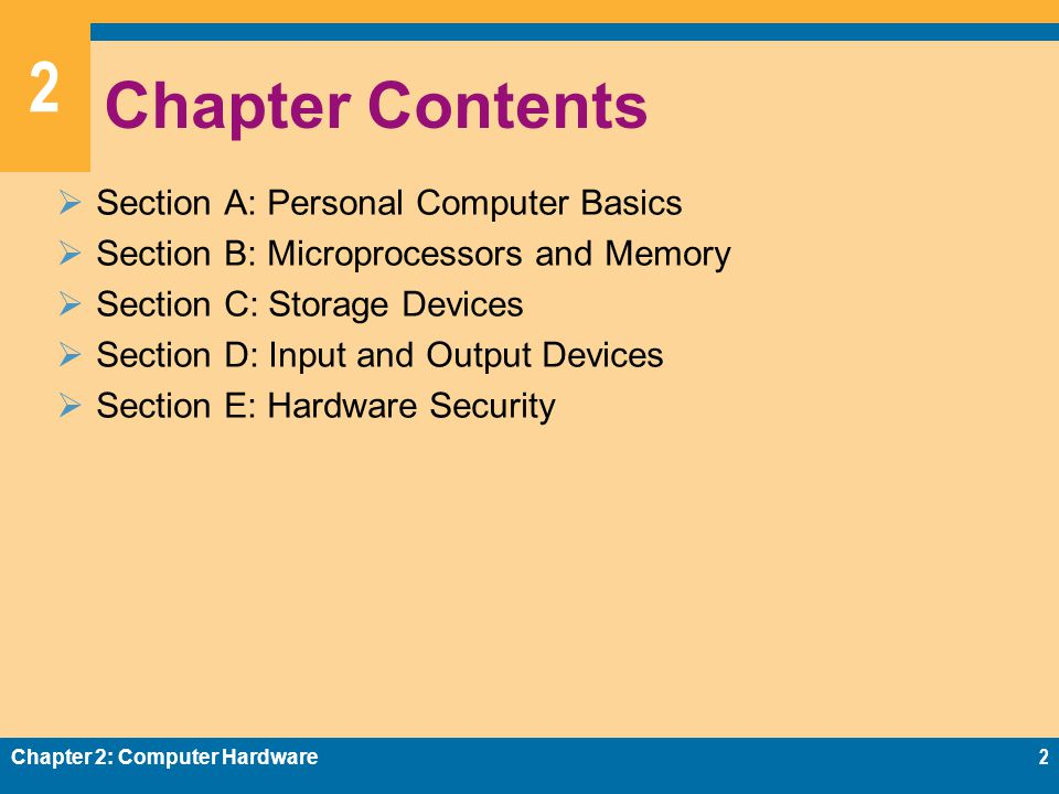 2 Random Access Memory  RAM (random access memory) is a temporary holding area for data, application program instructions, and the operating system Chapter 2: Computer Hardware23