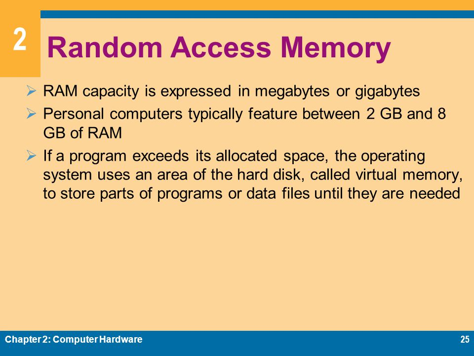 2 Random Access Memory  RAM capacity is expressed in megabytes or gigabytes  Personal computers typically feature between 2 GB and 8 GB of RAM  If a program exceeds its allocated space, the operating system uses an area of the hard disk, called virtual memory, to store parts of programs or data files until they are needed Chapter 2: Computer Hardware25