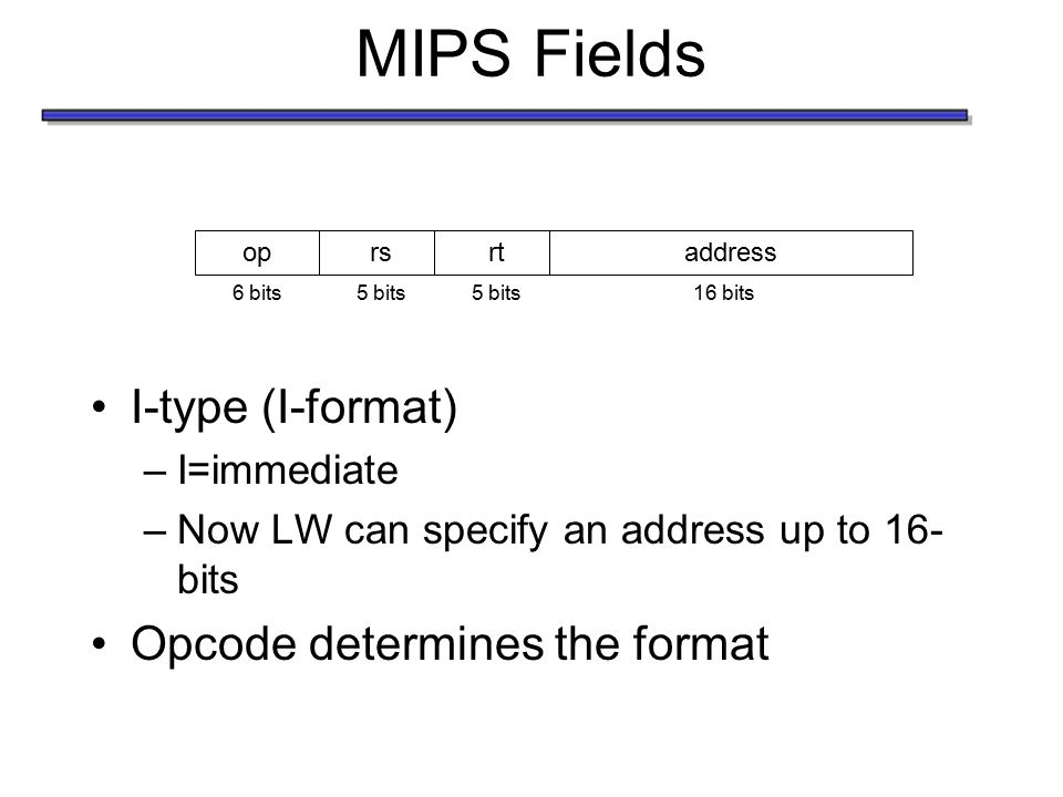 MIPS Fields I-type (I-format) –I=immediate –Now LW can specify an address up to 16- bits Opcode determines the format oprsrtaddress 6 bits5 bits 16 bi