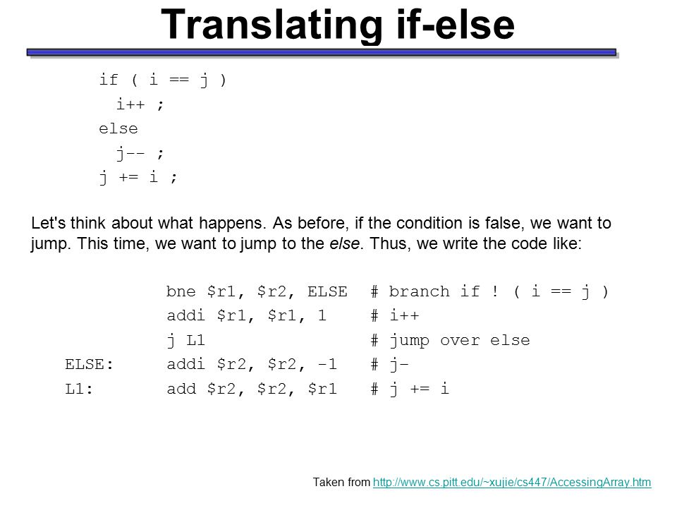 Translating if-else if ( i == j ) i++ ; else j-- ; j += i ; Let s think about what happens.