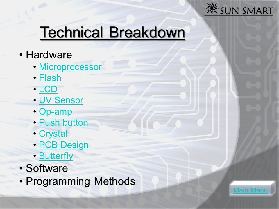 Technical Breakdown Hardware Microprocessor Flash LCD UV Sensor Op-amp Push button Crystal PCB Design Butterfly Software Programming Methods Main Menu