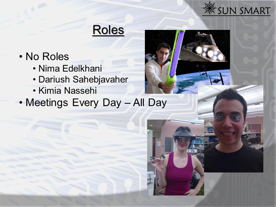 Roles No Roles Nima Edelkhani Dariush Sahebjavaher Kimia Nassehi Meetings Every Day – All Day