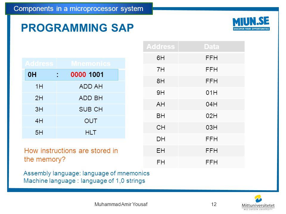 PROGRAMMING SAP Components in a microprocessor system 12Muhammad Amir Yousaf AddressMnemonics 0HLDA 9H 1HADD AH 2HADD BH 3HSUB CH 4HOUT 5HHLT AddressD