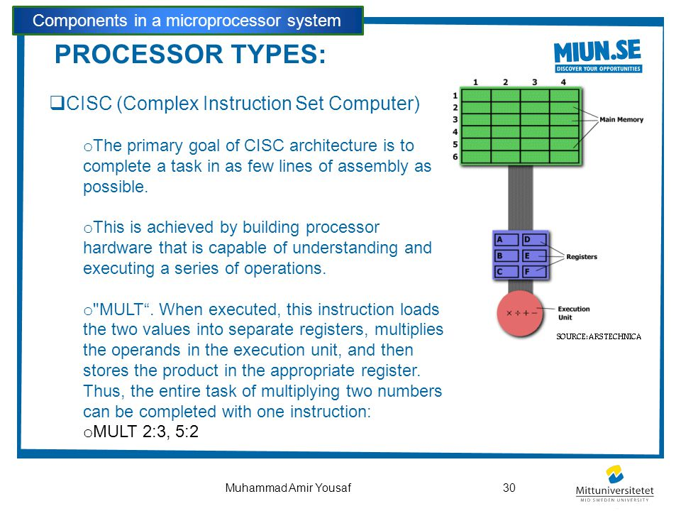 PROCESSOR TYPES:  CISC (Complex Instruction Set Computer) o The primary goal of CISC architecture is to complete a task in as few lines of assembly a