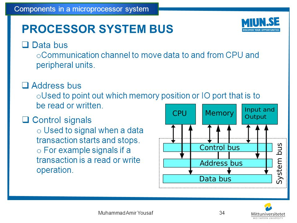 PROCESSOR SYSTEM BUS  Data bus o Communication channel to move data to and from CPU and peripheral units.  Address bus o Used to point out which mem