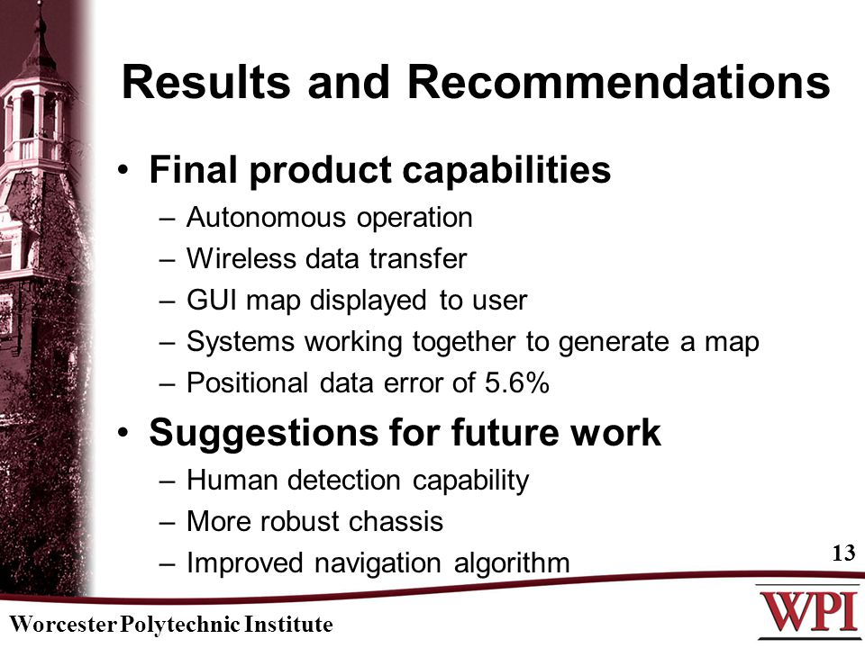 Results and Recommendations Final product capabilities –Autonomous operation –Wireless data transfer –GUI map displayed to user –Systems working together to generate a map –Positional data error of 5.6% Suggestions for future work –Human detection capability –More robust chassis –Improved navigation algorithm Worcester Polytechnic Institute 13