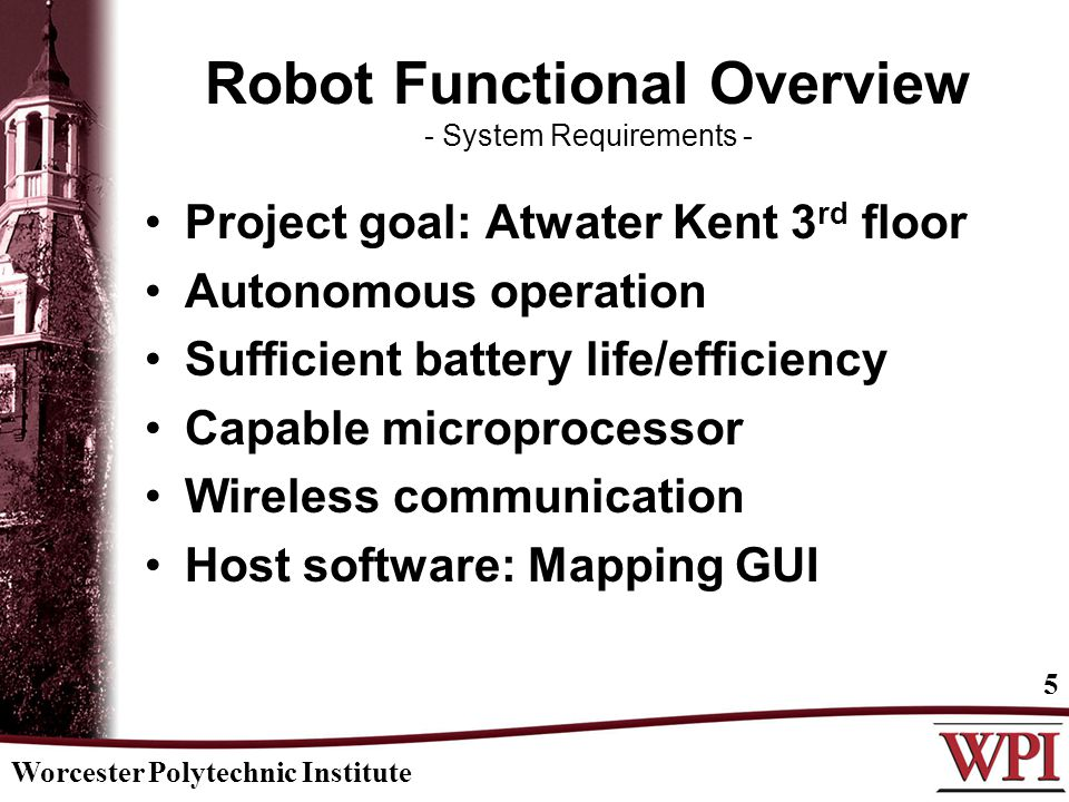Robot Functional Overview - System Requirements - Project goal: Atwater Kent 3 rd floor Autonomous operation Sufficient battery life/efficiency Capable microprocessor Wireless communication Host software: Mapping GUI Worcester Polytechnic Institute 5