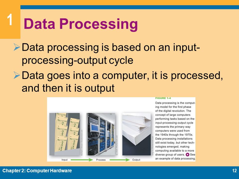 1 Data Processing  Data processing is based on an input- processing-output cycle  Data goes into a computer, it is processed, and then it is output Chapter 2: Computer Hardware12