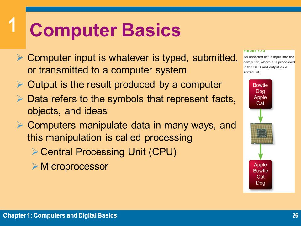 1 Computer Basics  Computer input is whatever is typed, submitted, or transmitted to a computer system  Output is the result produced by a computer  Data refers to the symbols that represent facts, objects, and ideas  Computers manipulate data in many ways, and this manipulation is called processing  Central Processing Unit (CPU)  Microprocessor Chapter 1: Computers and Digital Basics26