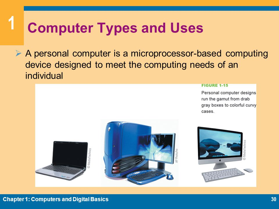 1 Computer Types and Uses  A personal computer is a microprocessor-based computing device designed to meet the computing needs of an individual Chapter 1: Computers and Digital Basics30