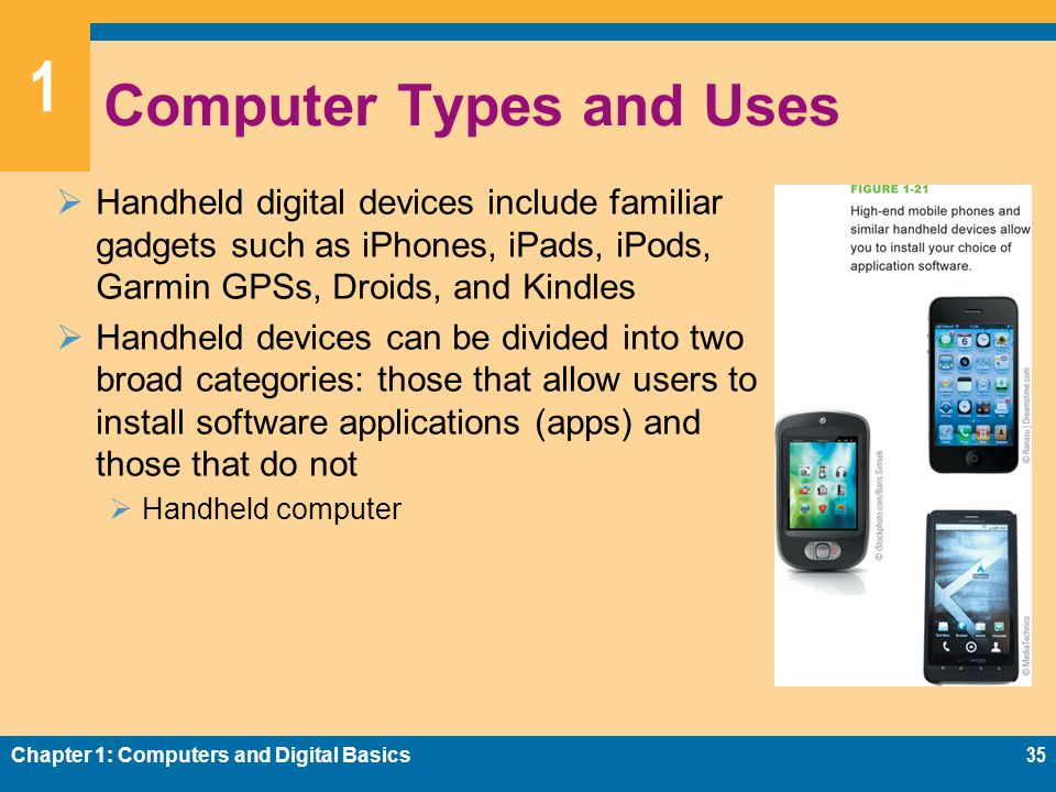 1 Computer Types and Uses  Handheld digital devices include familiar gadgets such as iPhones, iPads, iPods, Garmin GPSs, Droids, and Kindles  Handheld devices can be divided into two broad categories: those that allow users to install software applications (apps) and those that do not  Handheld computer Chapter 1: Computers and Digital Basics35