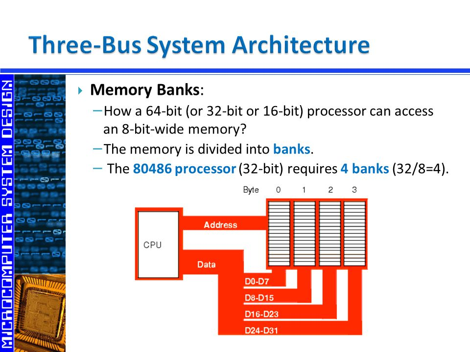  Memory Banks: − How a 64-bit (or 32-bit or 16-bit) processor can access an 8-bit-wide memory.