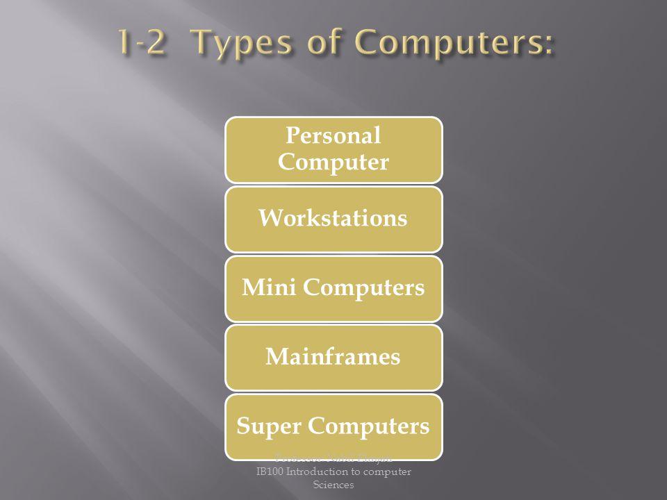 Personal Computer WorkstationsMini ComputersMainframesSuper Computers Professor: Nabil Elmjati IB100 Introduction to computer Sciences
