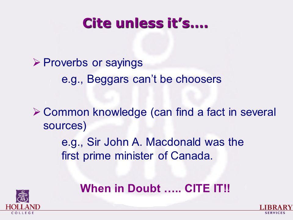 Cite unless it's….