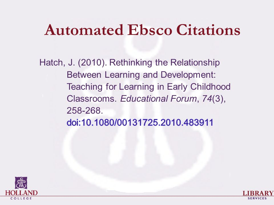 Automated Ebsco Citations