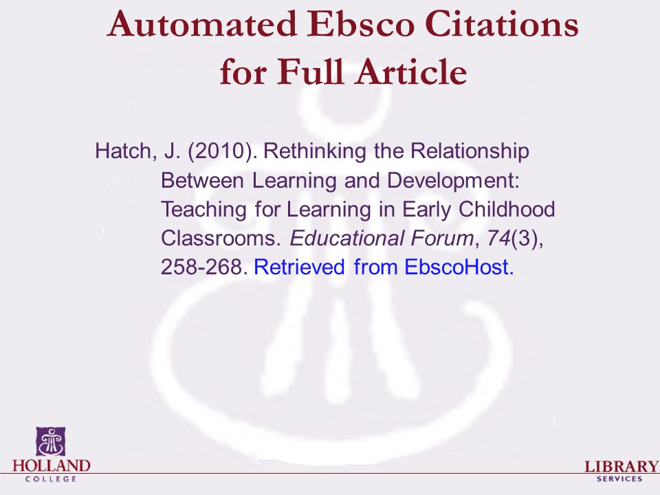 Automated Ebsco Citations for Full Article Hatch, J.