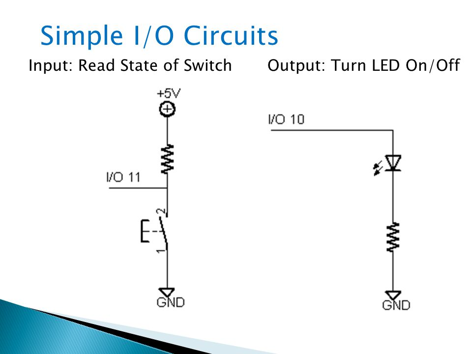 Simple I/O Circuits Input: Read State of Switch Output: Turn LED On/Off