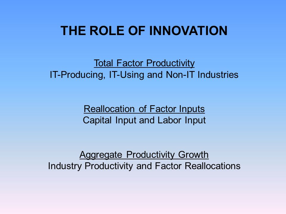 THE ROLE OF INNOVATION Total Factor Productivity IT-Producing, IT-Using and Non-IT Industries Reallocation of Factor Inputs Capital Input and Labor Input Aggregate Productivity Growth Industry Productivity and Factor Reallocations