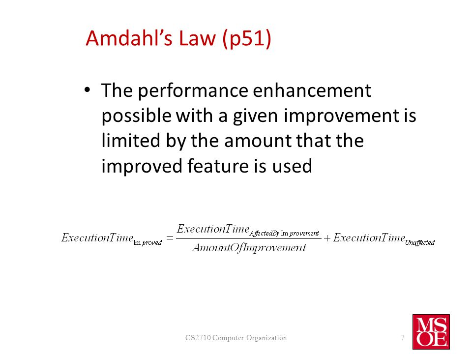 Amdahl's Law Applied A Program spends 40 seconds performing network transfers and 60 seconds generating reports.