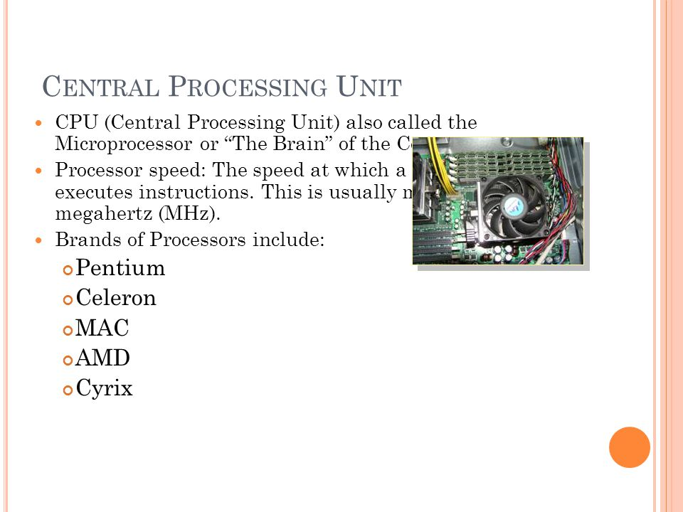 C ENTRAL P ROCESSING U NIT CPU (Central Processing Unit) also called the Microprocessor or The Brain of the Computer.