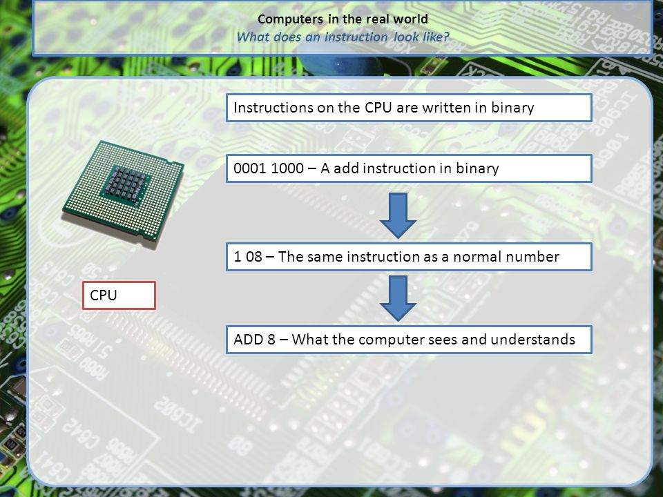 Computers in the real world What does an instruction look like.