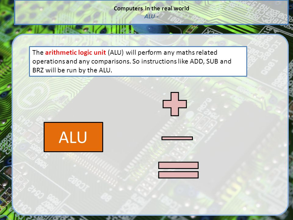 Computers in the real world ALU - The arithmetic logic unit (ALU) will perform any maths related operations and any comparisons.