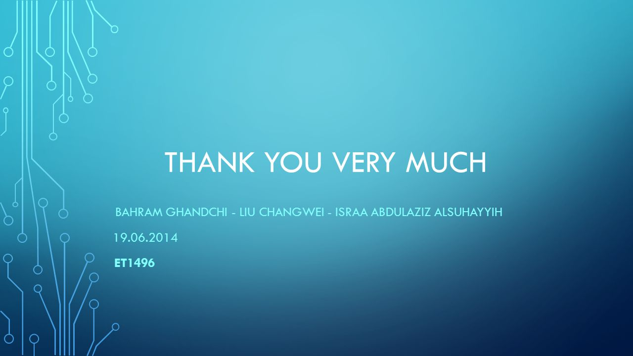 THANK YOU VERY MUCH BAHRAM GHANDCHI - LIU CHANGWEI - ISRAA ABDULAZIZ ALSUHAYYIH 19.06.2014 ET1496