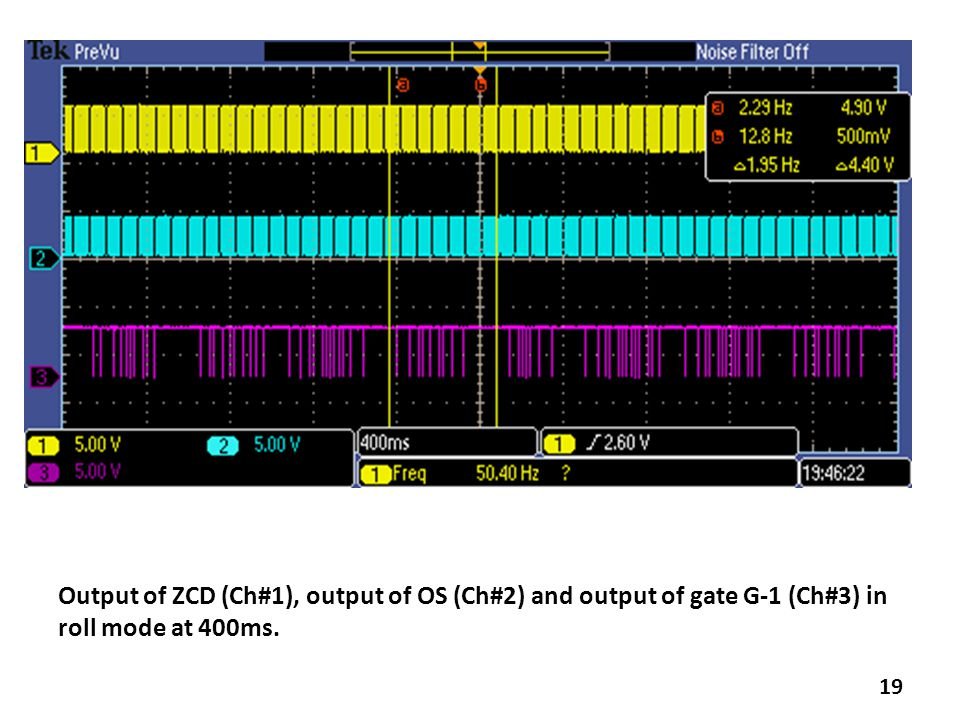 19 Output of ZCD (Ch#1), output of OS (Ch#2) and output of gate G-1 (Ch#3) in roll mode at 400ms.