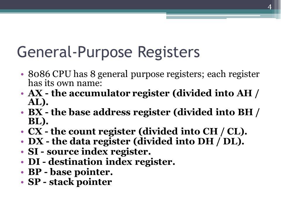 General-Purpose Registers 8086 CPU has 8 general purpose registers; each register has its own name: AX - the accumulator register (divided into AH / AL).