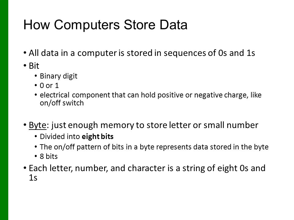 How Computers Store Data All data in a computer is stored in sequences of 0s and 1s Bit Binary digit 0 or 1 electrical component that can hold positive or negative charge, like on/off switch Byte: just enough memory to store letter or small number Divided into eight bits The on/off pattern of bits in a byte represents data stored in the byte 8 bits Each letter, number, and character is a string of eight 0s and 1s
