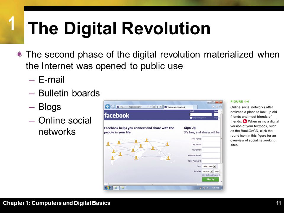 1 Chapter 1: Computers and Digital Basics11 The Digital Revolution  The second phase of the digital revolution materialized when the Internet was opened to public use –E-mail –Bulletin boards –Blogs –Online social networks